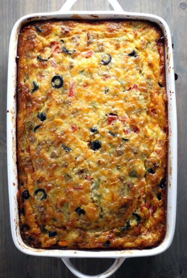 Drop the pastries, people. THIS breakfast recipe is real food. Wholesome, cheesy and protein-packed, our Turkey Vegetable Breakfast Bake will quickly become a family favorite. Mildly seasoned ground turkey, eggs and cheese combined with colorful veggies, this easy recipe tastes just like an omelet. (Without all the fuss.)