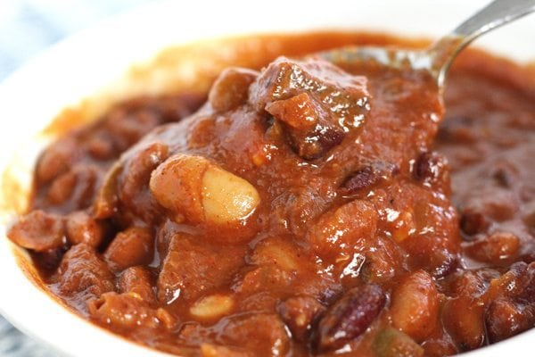 Spicy Three Bean Venison Chili- The star of this rich, red venison chili is not the beans. It is the venison. Tender and lean chunks of last year's deer slow simmered in chili spices. This is why the good Lord gave us spoons.