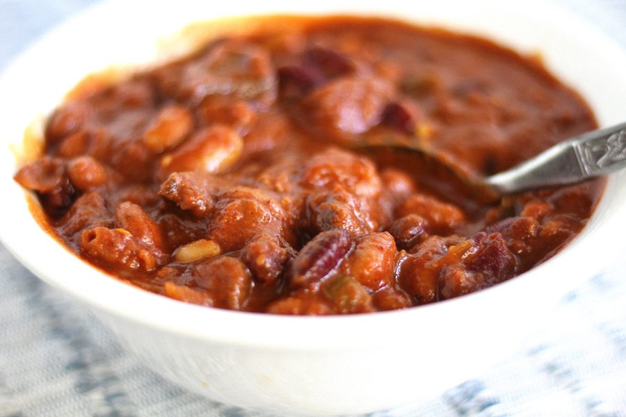 Spicy Three Bean Venison Chili in a white bowl