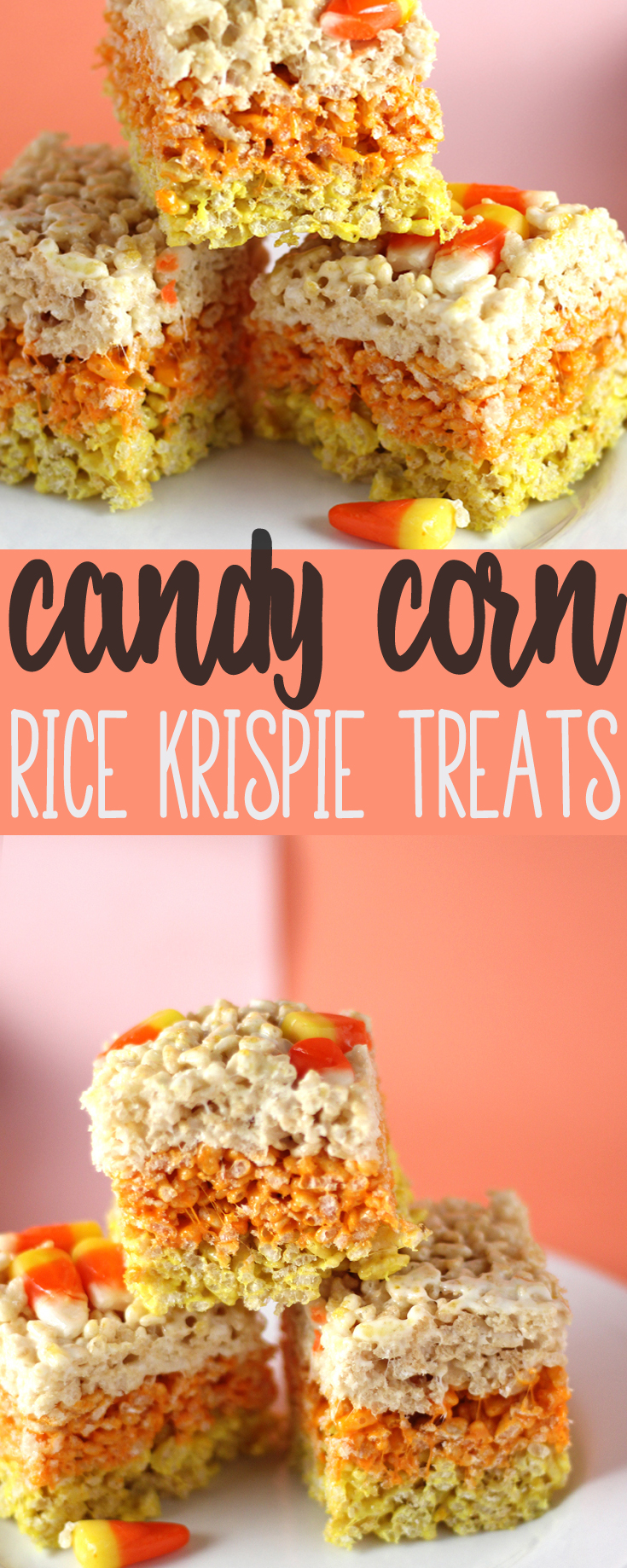 Two things in this world bring out the kid in me. Rice Krispie Treats + Candy Corn. Two classic treats together in a deliciously sweet Halloween treat. #halloween