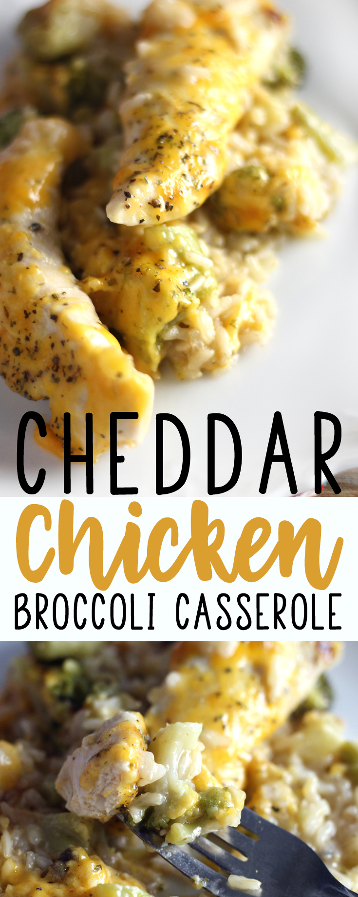 There is nothing easier for Mom or Dad on a weeknight than a warm and comforting meal like this Easy Cheddar Chicken Broccoli Casserole. #broccolicasserole