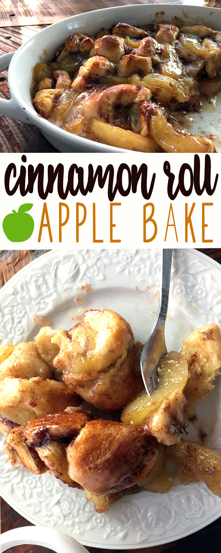 There's easy recipes. Then there's EASY recipes. You are going to love this two-ingredient recipe for Cinnamon Roll Apple Bake. Yes, you heard me correctly, TWO INGREDIENTS. #cinnamonroll #dessertrecipe