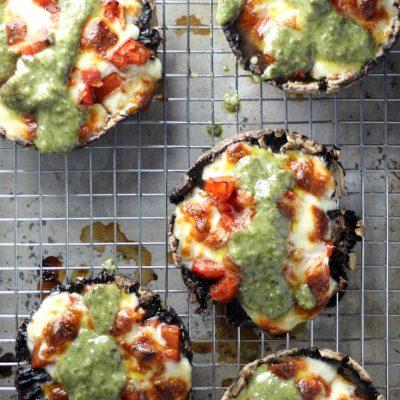Hello, Portabellos! Marinated Tomato and Pesto Portabello Mushrooms
