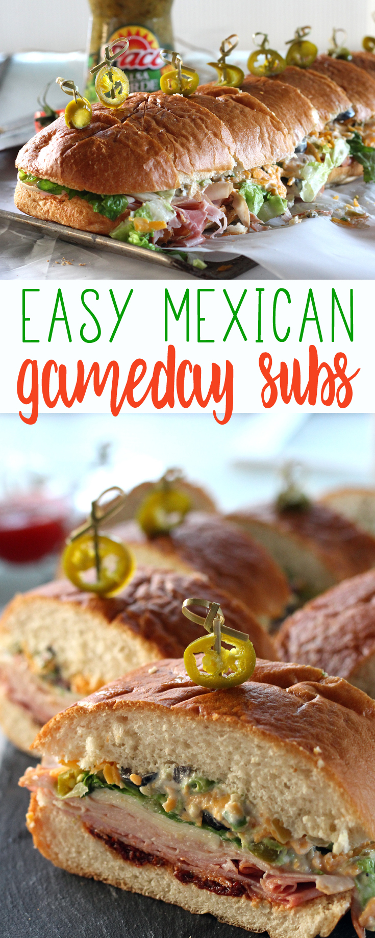 Turn the flavor all the way up with Mexican-inspired Gameday Sub Sandwiches. Layers of meats, cheeses and veggies with bold pops of peppers and salsa verde.