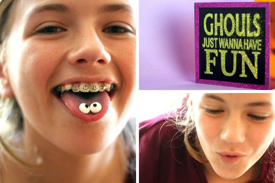 A collage of a young girl enjoying making Halloween treats