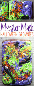 Halloween Season is here! The time of monsters, scary movies, haunted houses and spooks. And for sticky-sweet treats like Monster Mash Halloween Brownies.