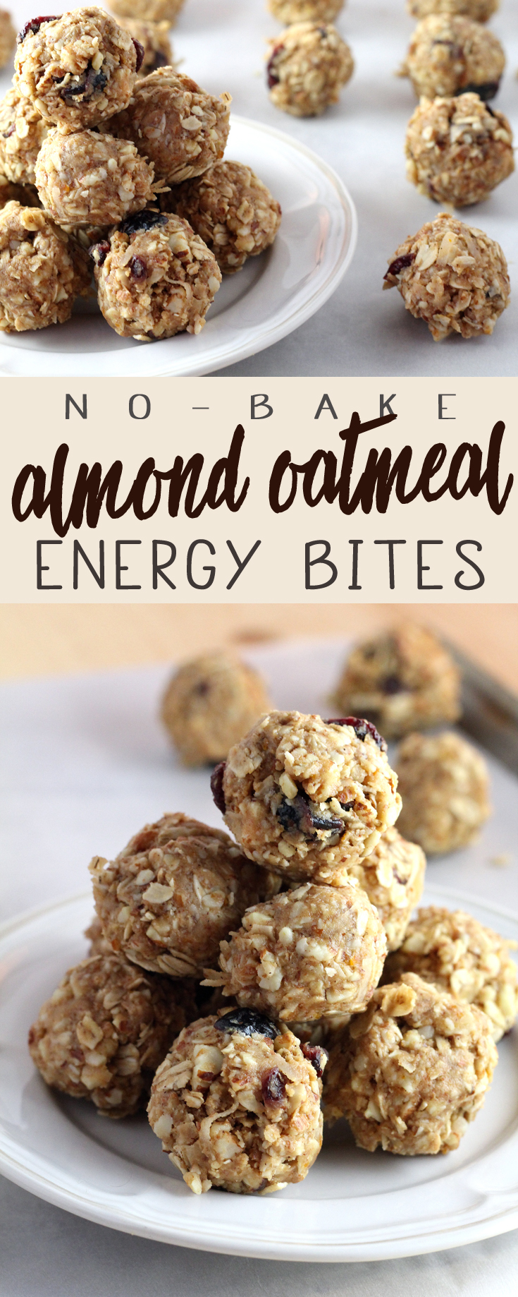 Almond Oatmeal No Bake Energy Bites are going to be your new breakfast BFF. These lovely little munchies are a grab-and-go delight that will fit right into your morning routine. #energybites #hairhealthy