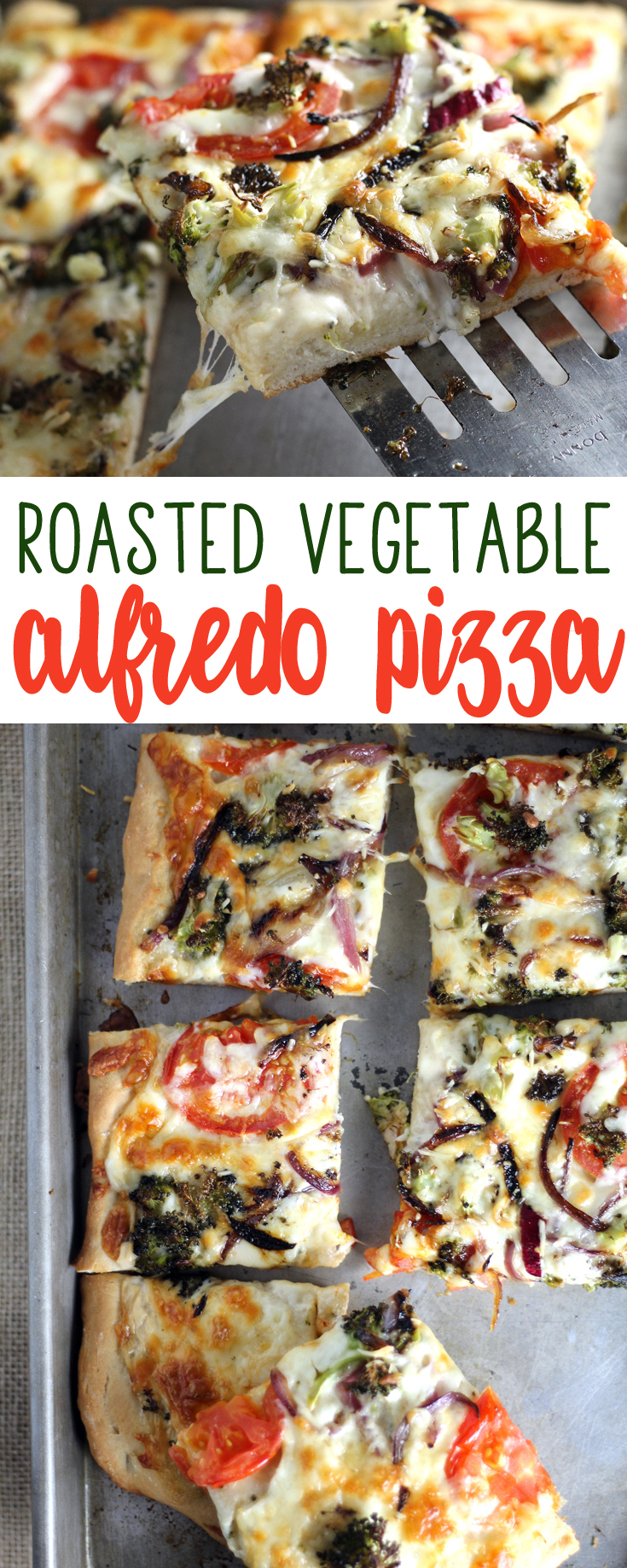 Caramelized onions, broccoli, creamy Alfredo sauce and loads of mozzarella on a homemade crust...this  Roasted Vegetable Alfredo Pizza makes my heart melt.   #vegetablepizza #Alfredo