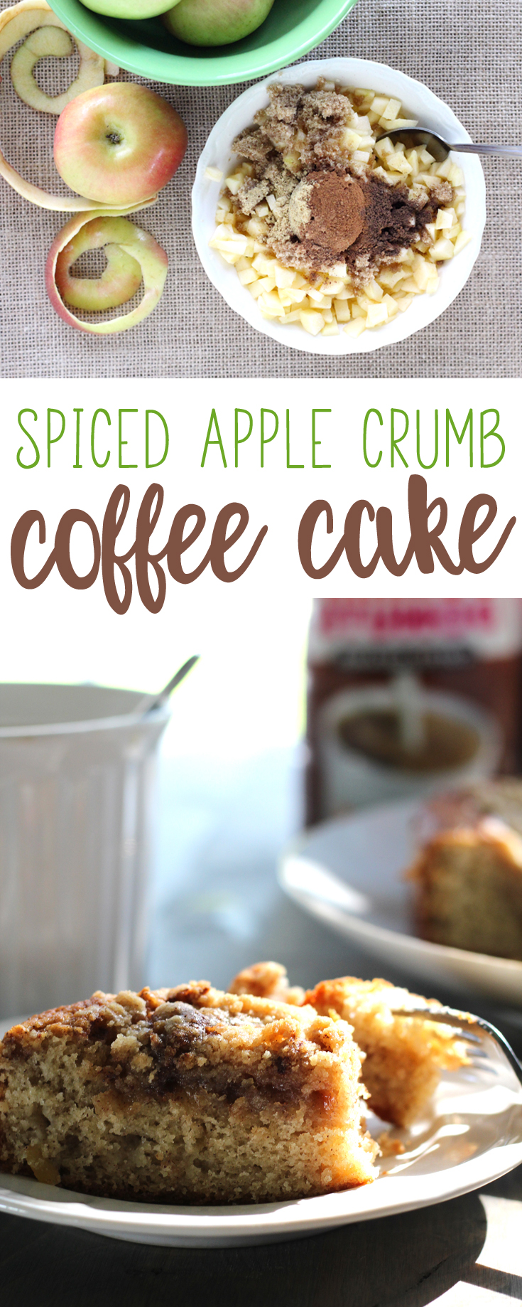 Spiced Apple Crumb Coffee Cake is a prefect fall recipe. Full of cinnamon and spice, moist cake and crumble topping. Enjoy with coffee, of course. #coffeecake