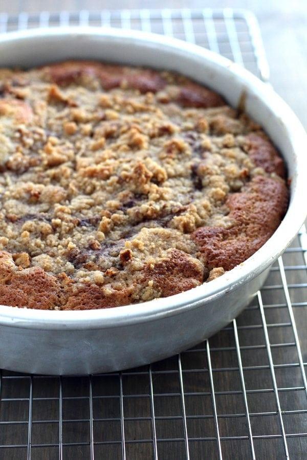 A cake pan of warm crumb coffee cake