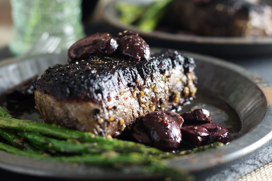 How to do date night right? Pan sear a 2 inch filet mignon and serve with buttered wine mushrooms.