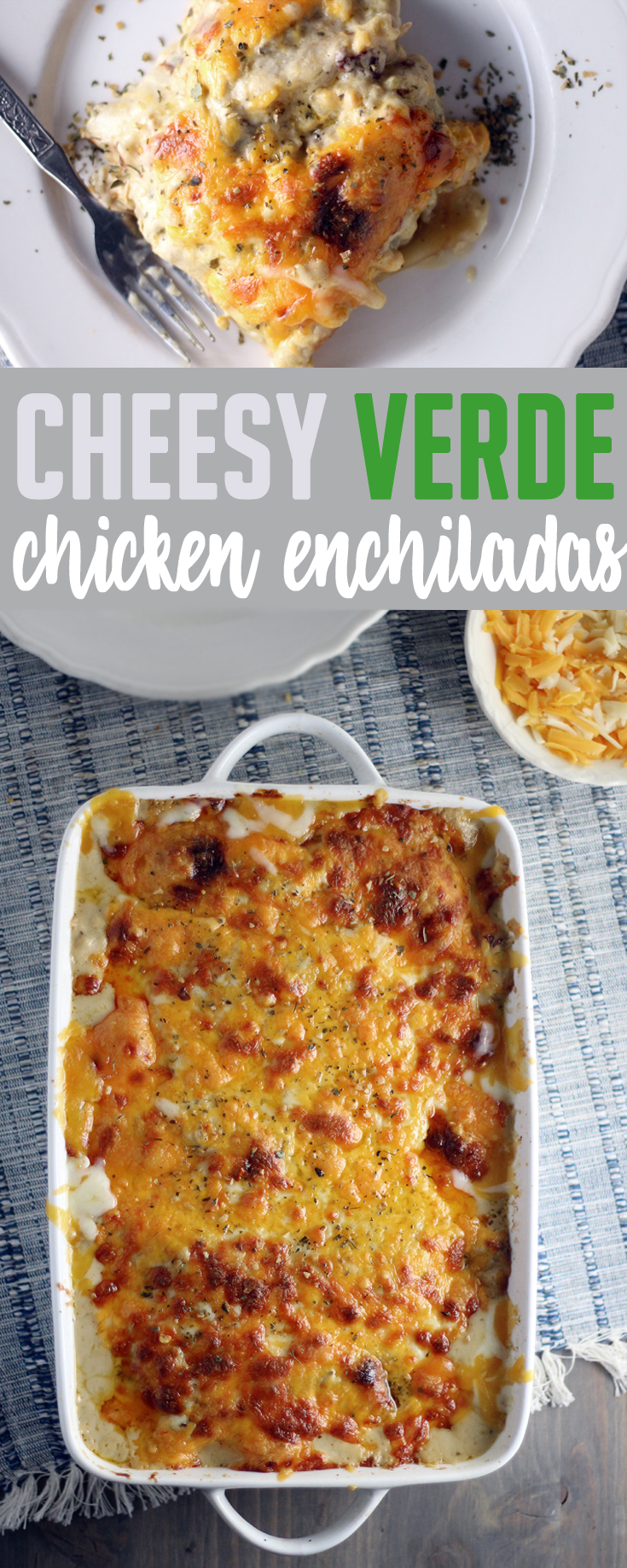 Crave-worthy Cheesy Verde Chicken Enchiladas are your new favorite Mexican Meal. Homemade cheese sauce (no canned cream of anything here) with tangy salsa verde + smoky chipotles.  #chickenenchiladas #yummyfood #easyrecipes #chickenrecipe