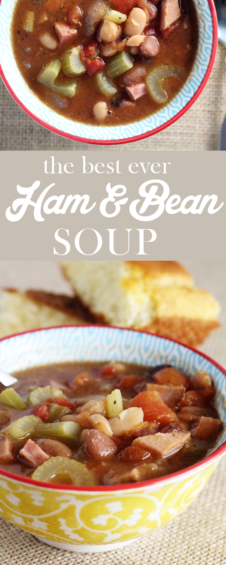Simple + savory, you are going to fall in L-O-V-E with our comforting Ham and Bean Soup. The. Best. Ever.  #beansoup #souprecipe #homemadesoup #comfortfood