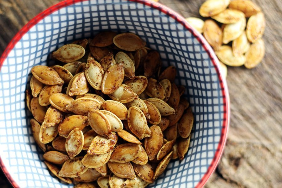 A hint of sugar and spice is the perfect accent for roasted pumpkin seeds.