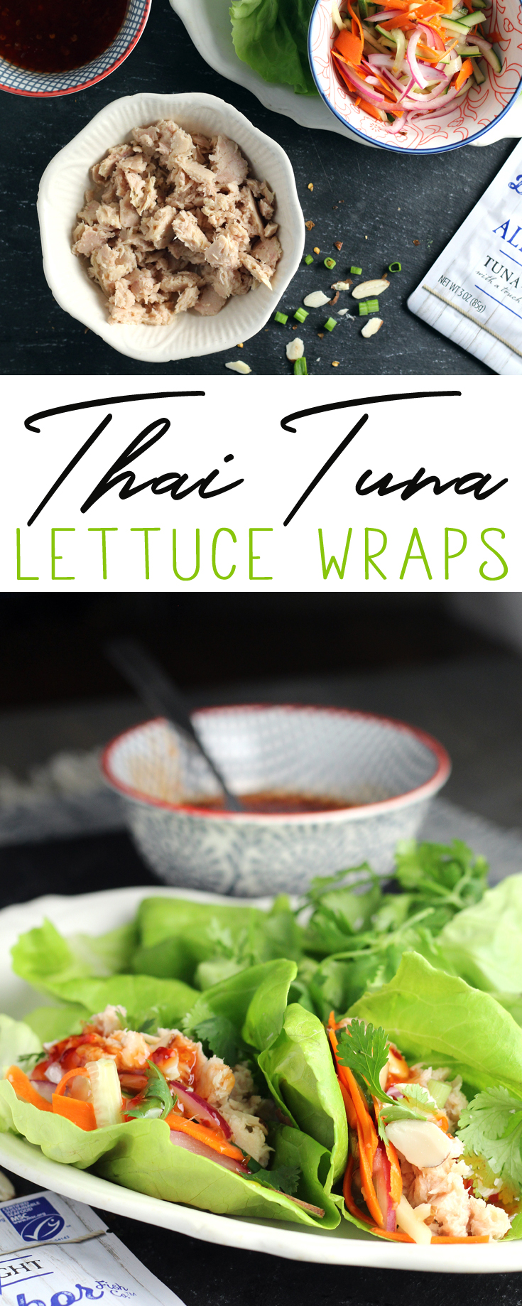 Thai Tuna Lettuce Wraps have it all. You get the mild flavor of white Albacore tuna + tangy vegetables + sweet Thai chili sauce + crunchy almonds and more.