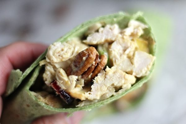 Tossed in our homemade honey mustard dressing with sweet pears, these Pecan Chicken Wraps are sweet and savory, full of crunch and flavor.