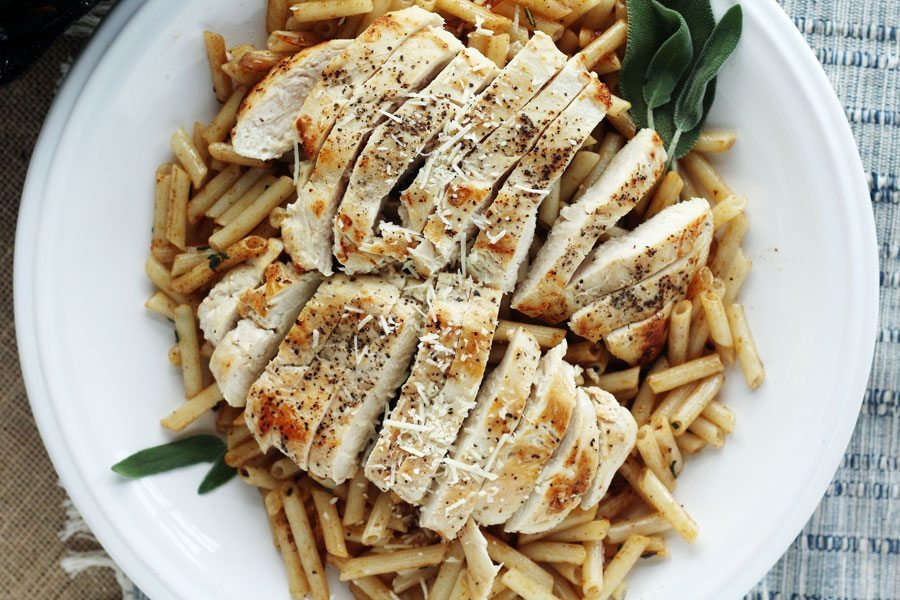 Golden brown butter + fresh sage with chicken penne pasta. Simply gorgeous.