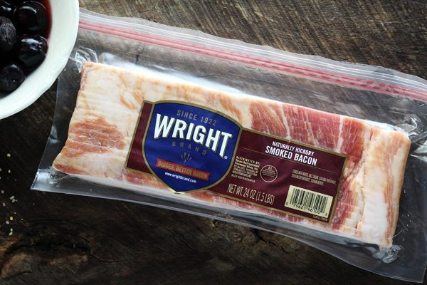 Wright Brand Hickory Bacon is the only bacon I will use for this Cherry Bacon Pork Tenderloin recipe.