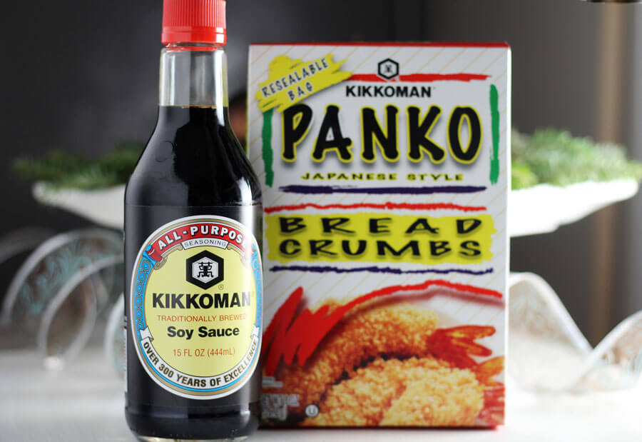 Kikkoman Soy Sauce and Panko Bread Crumbs on a counter