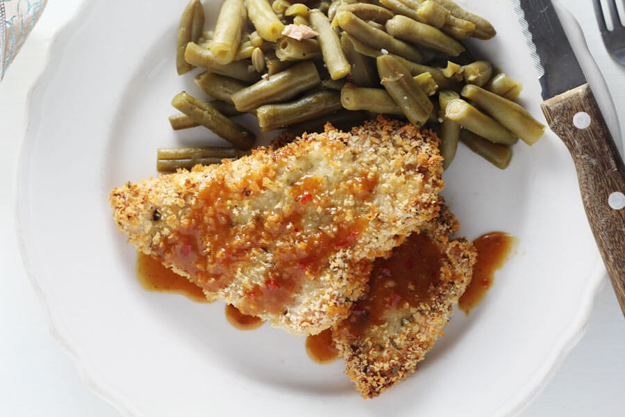 Just a small drizzle of our sweet mustard soy sauce tops off the panko crusted turkey breast.