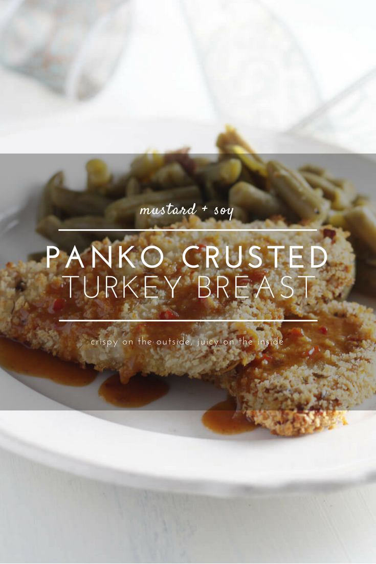 Crispy and golden on the outside, tender and moist on the inside, Panko Crusted Turkey Breast with Sweet Mustard Soy Sauce is an easy + satisfying entree.  #SeasonYourHolidays #turkeybreast
