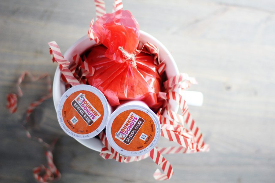 Make a quick + thoughtful gift with our Salted Caramel Cookies + Dunkin Donuts Coffee.
