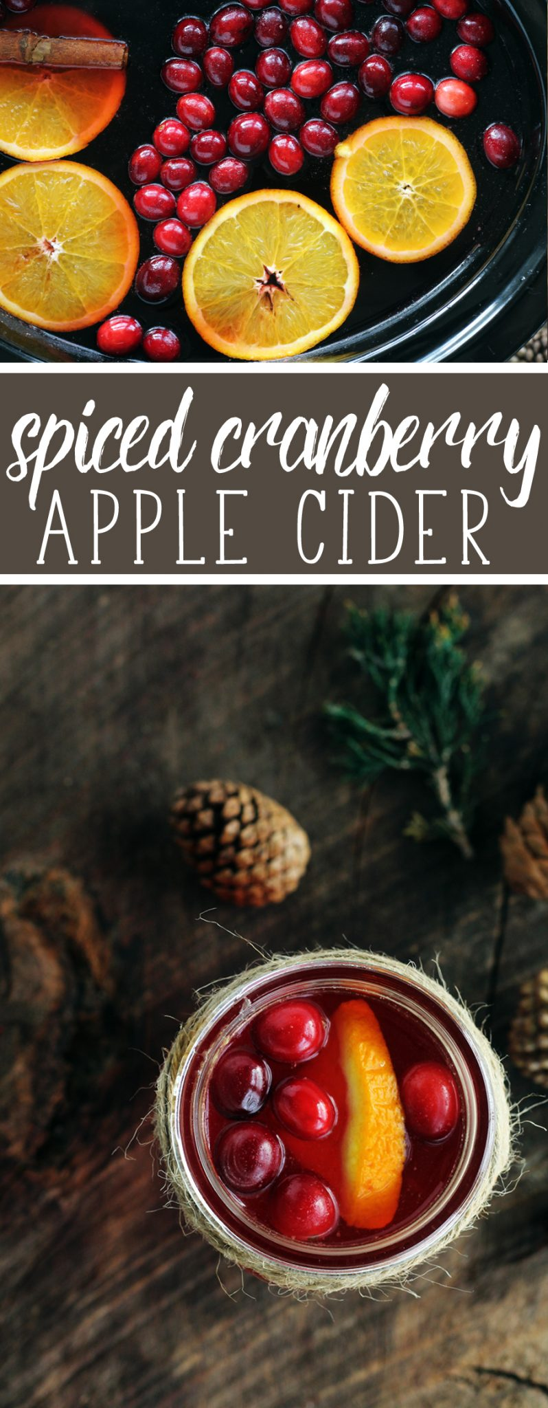Get Warm + Cozy with this sweet Spiced Cranberry Apple Cider.