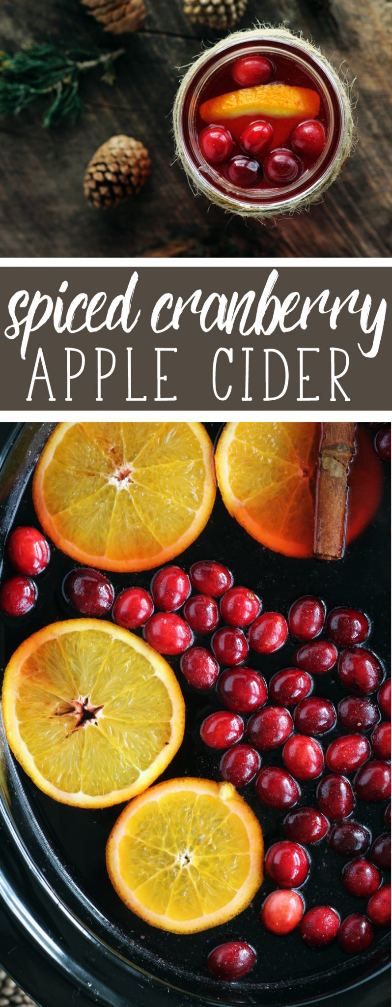You are going to fall in love with the holiday all over again. Warm + cozy Spiced Cranberry Apple Cider. Sweet, tart, spiced and warm. #Christmas #AppleCider