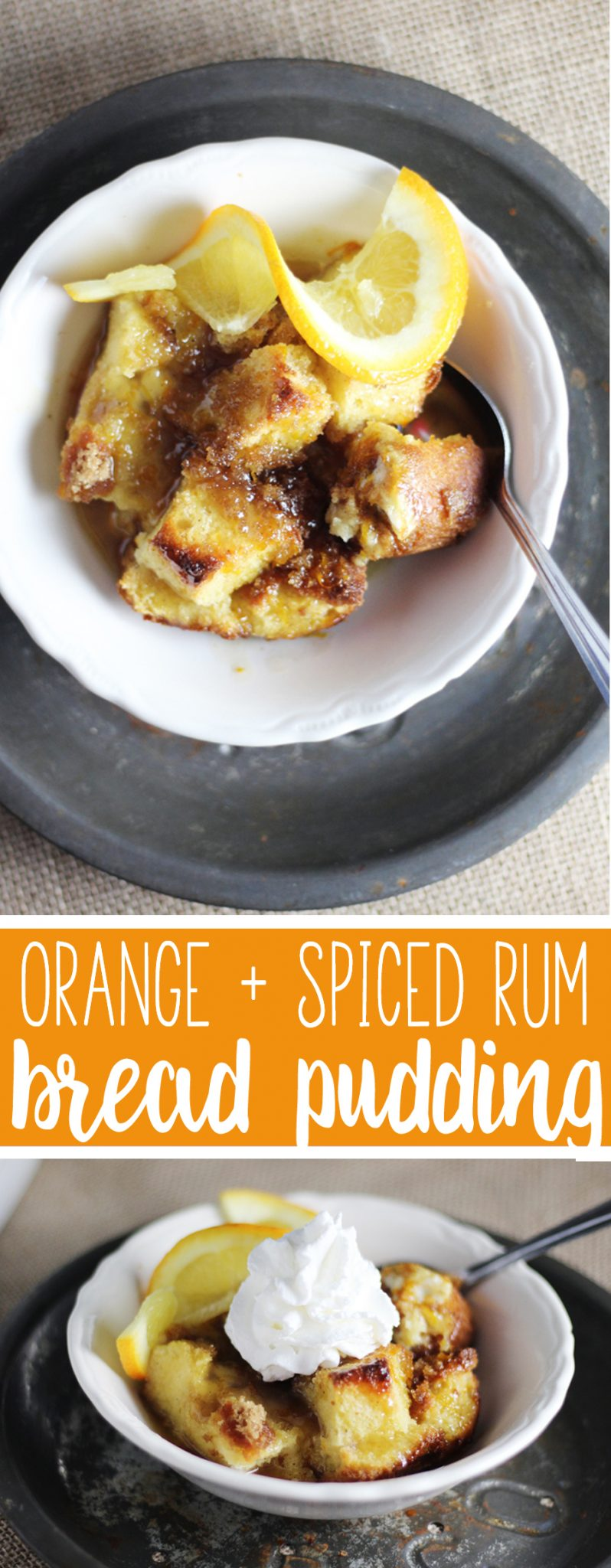 Fresh orange + spiced dark rum + buttery pound cake combine to give this classic bread pudding an amazing new twist. Orange + Spiced Rum Bread Pudding.  #breadpudding #spicedrum #holidaybaking