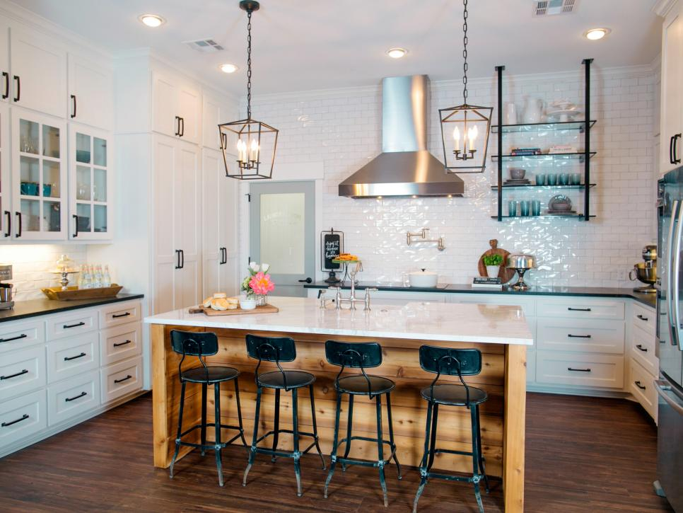 Kitchen Islands from FIxer Upper and HGTV. Great mix of classic elements.