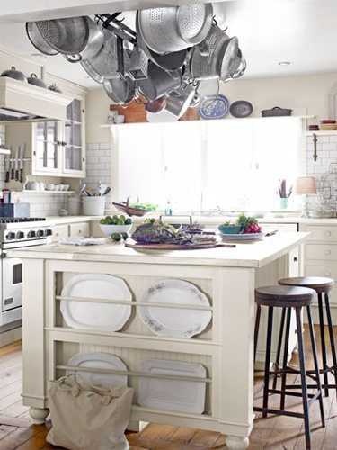 Classic farmhouse country style kitchen islands.