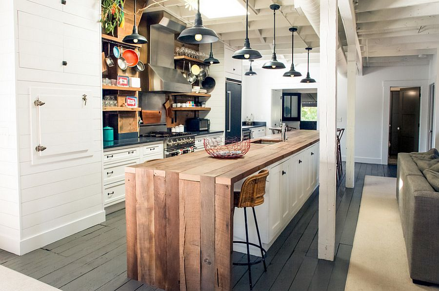 Warm Wood On White With Tons Of Storage Kitchen Islands