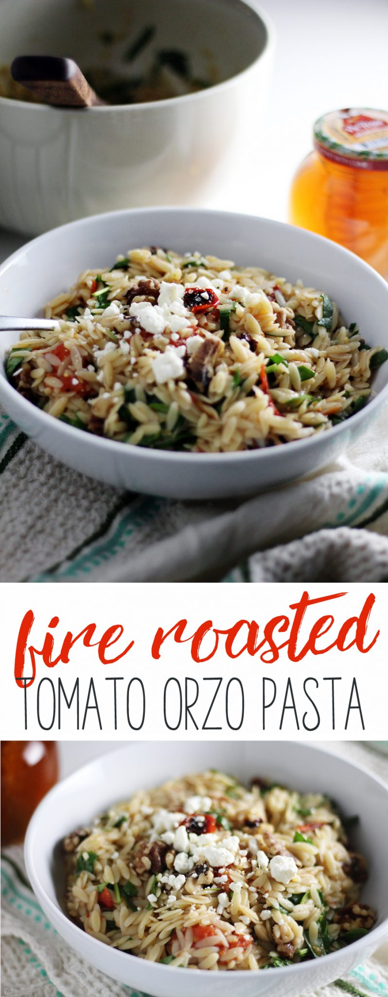 Fire roasted tomatoes, walnuts, fresh spinach are tossed with orzo pasta and dressed with a simple lemon + honey dressing.