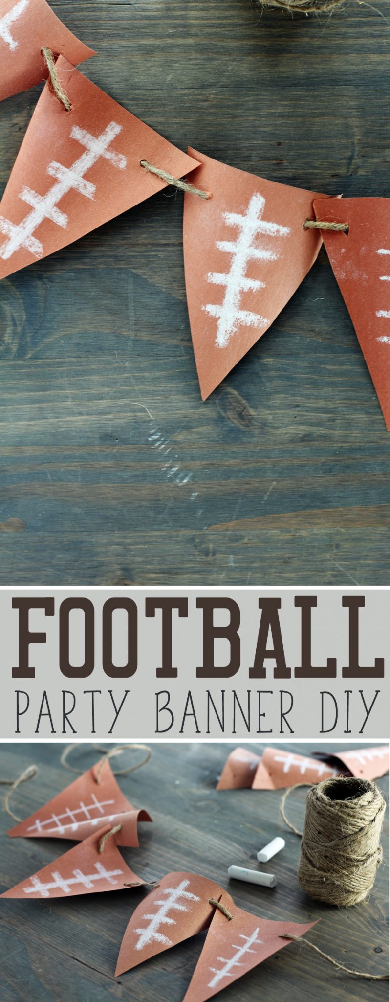 Make this Fast + Easy Football Banner yourself for your next football party.