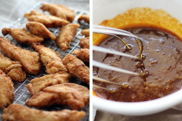 Crispy fried chicken strips tossed in Nashville Hot Chicken sauce. Yep, this is gonna be great.