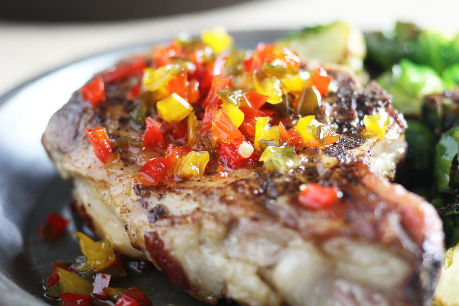 Thick bone in pork chops are the star of these quick skillet pork chops.