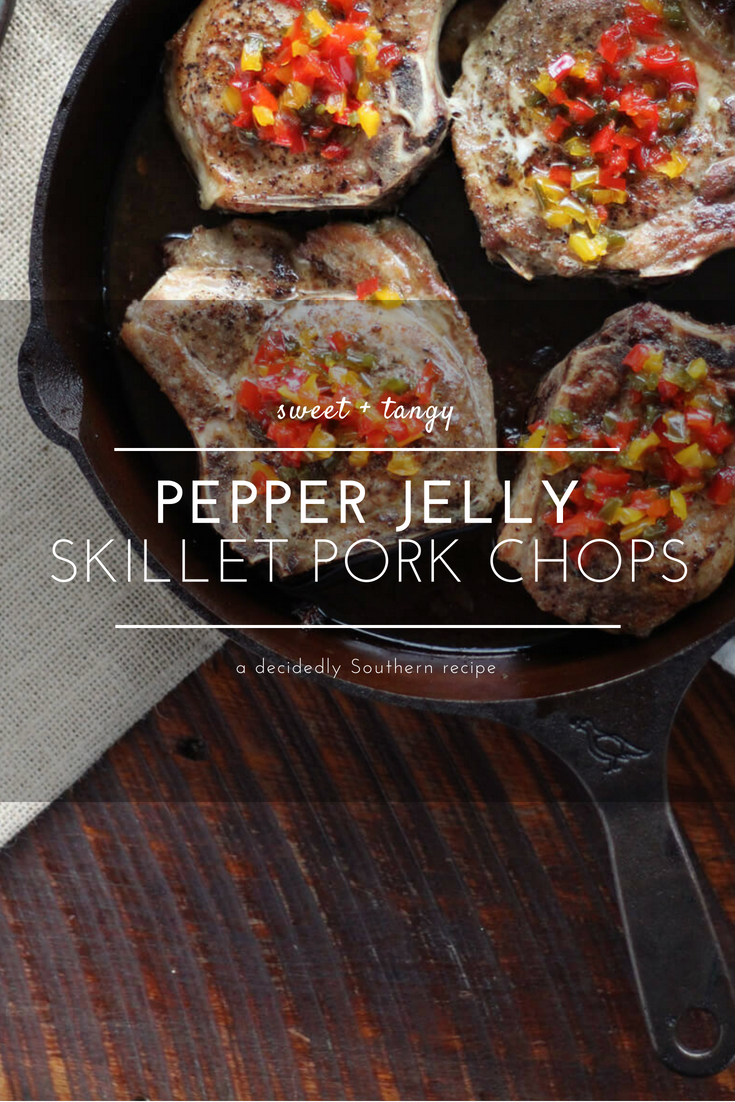 Your tastebuds explode in every direction with each bite of our Pepper Jelly Skillet Pork Chops. Thick chops seared golden + topped with Pepper Jelly sauce.