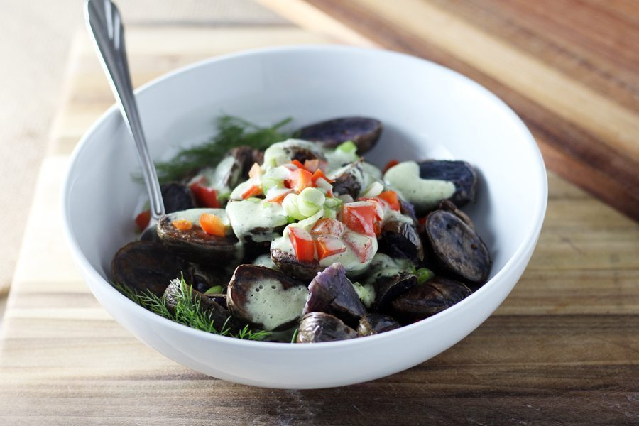You are going to love this fun + colorful twist : Purple Potato Salad.