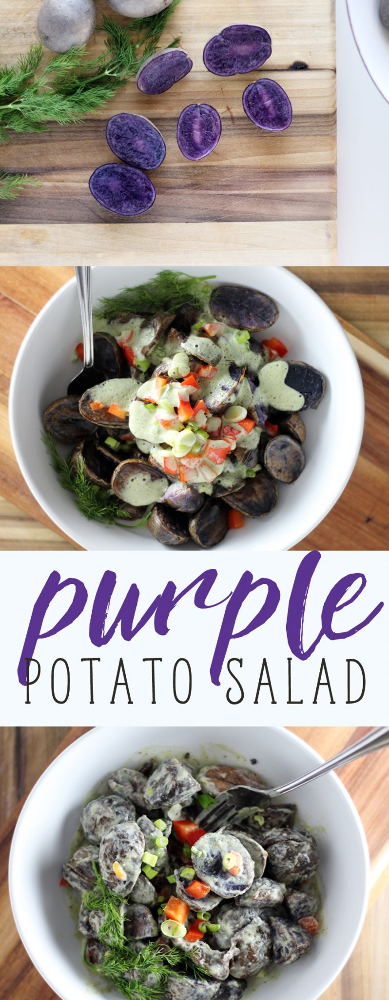 That's right. I said PURPLE potato salad. I've gone off the rails. We've put a colorful spin on a Southern classic recipe. I absolutely adore the vibrant color and nutty sweet flavor of these petite potatoes. #purplepotato
