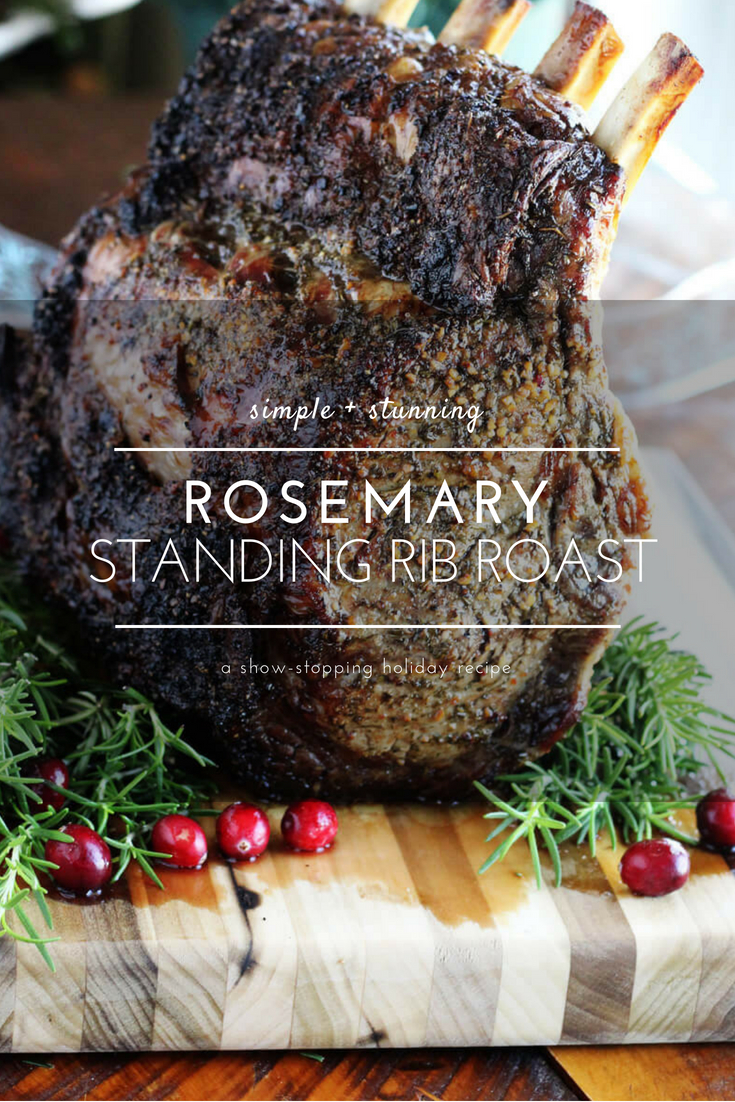 Perfectly crusted Rosemary Standing Rib Roast, tender + juicy inside. This is the ultimate holiday main course.  #standingribroast