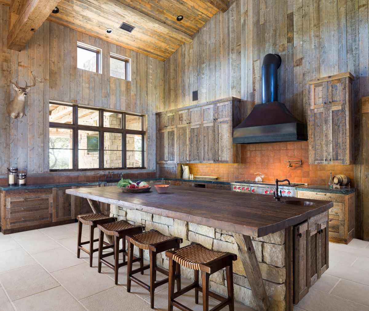 Ultra luxe rustic kitchen islands.