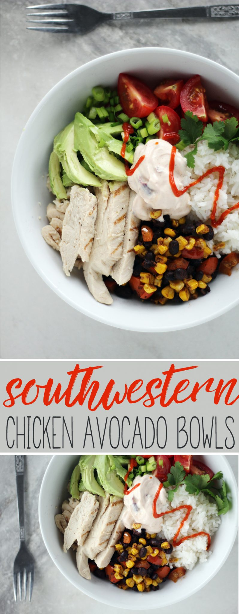 Full of flavor and easy to make, these Southwestern Chiciken Avocado Bowls make lunch time delicious. #chickenavocado