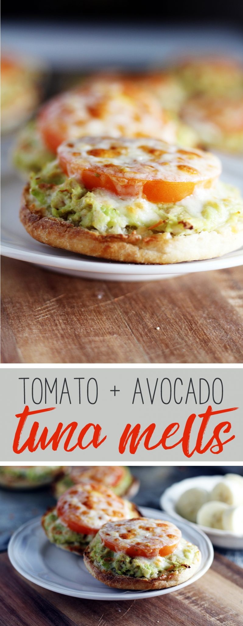 Fast + easy Tomato Avocado Tuna Melt. Made with fresh avocado, wild albaore,  tomato and cheese, this recipe is perfect for lunch or a light dinner. #BlueHarbor #tunamelt