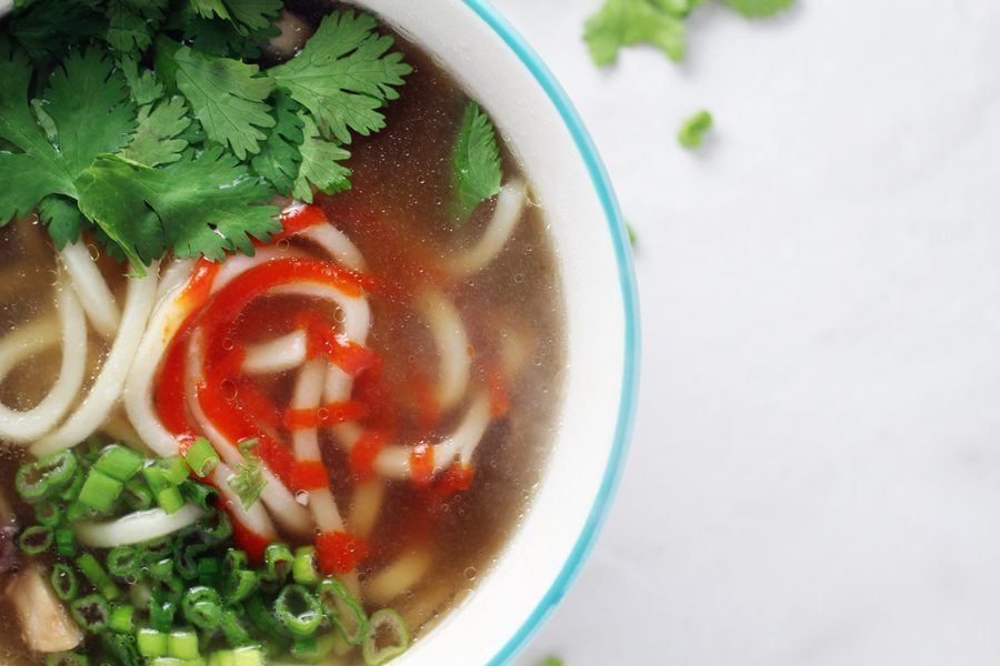 Love love love EVERYTHING about this fast + easy Udon Noodle Ginger Soup.