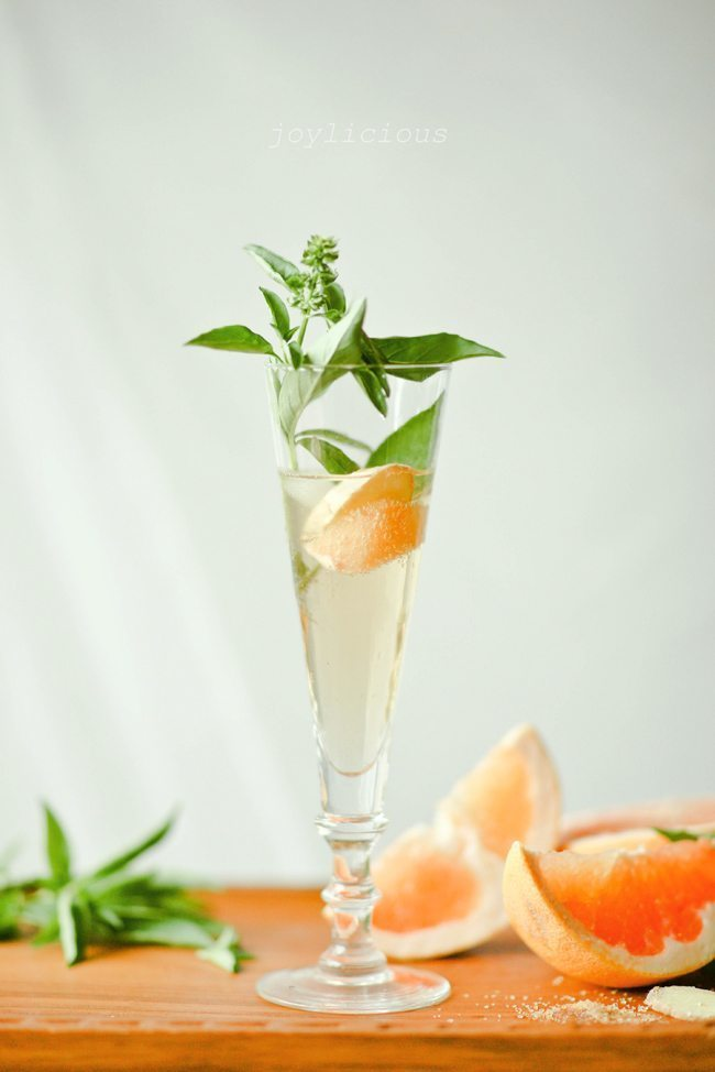 Simply stunning grapefruit basil mocktail.