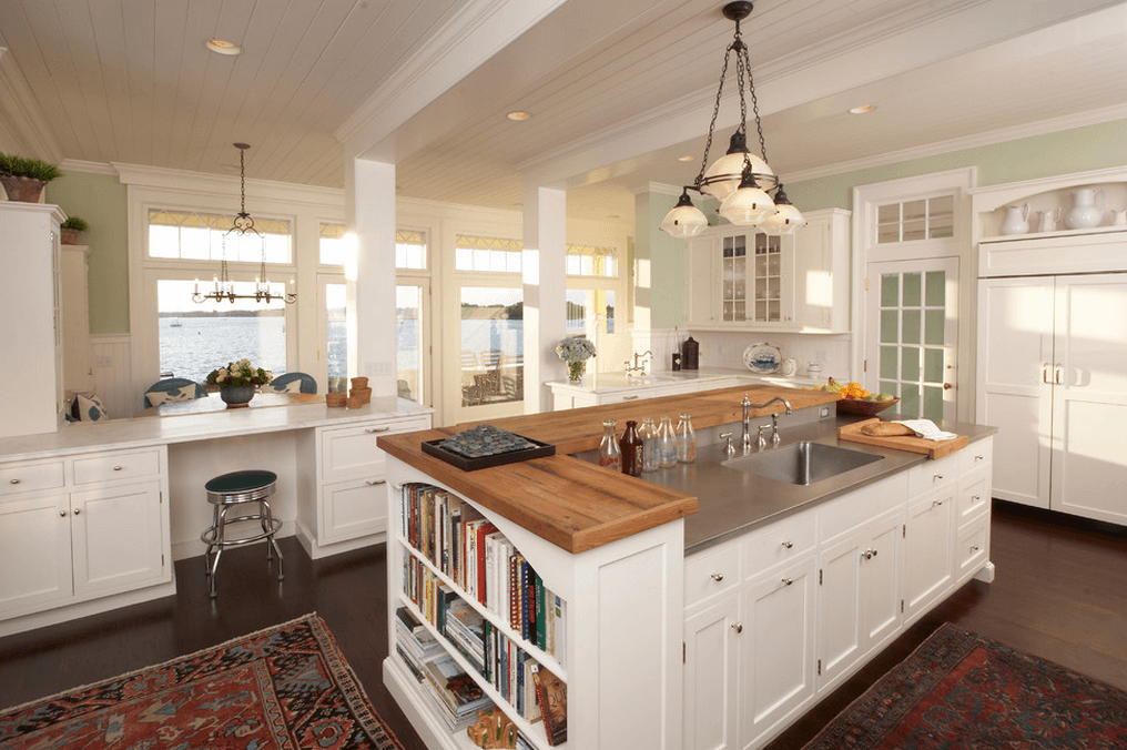 Mixed counter tops, multi level kitchen islands.