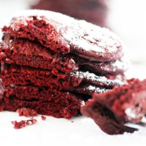 Dig into this Valentines Day breakfast of heart shaped red velvet pancakes.