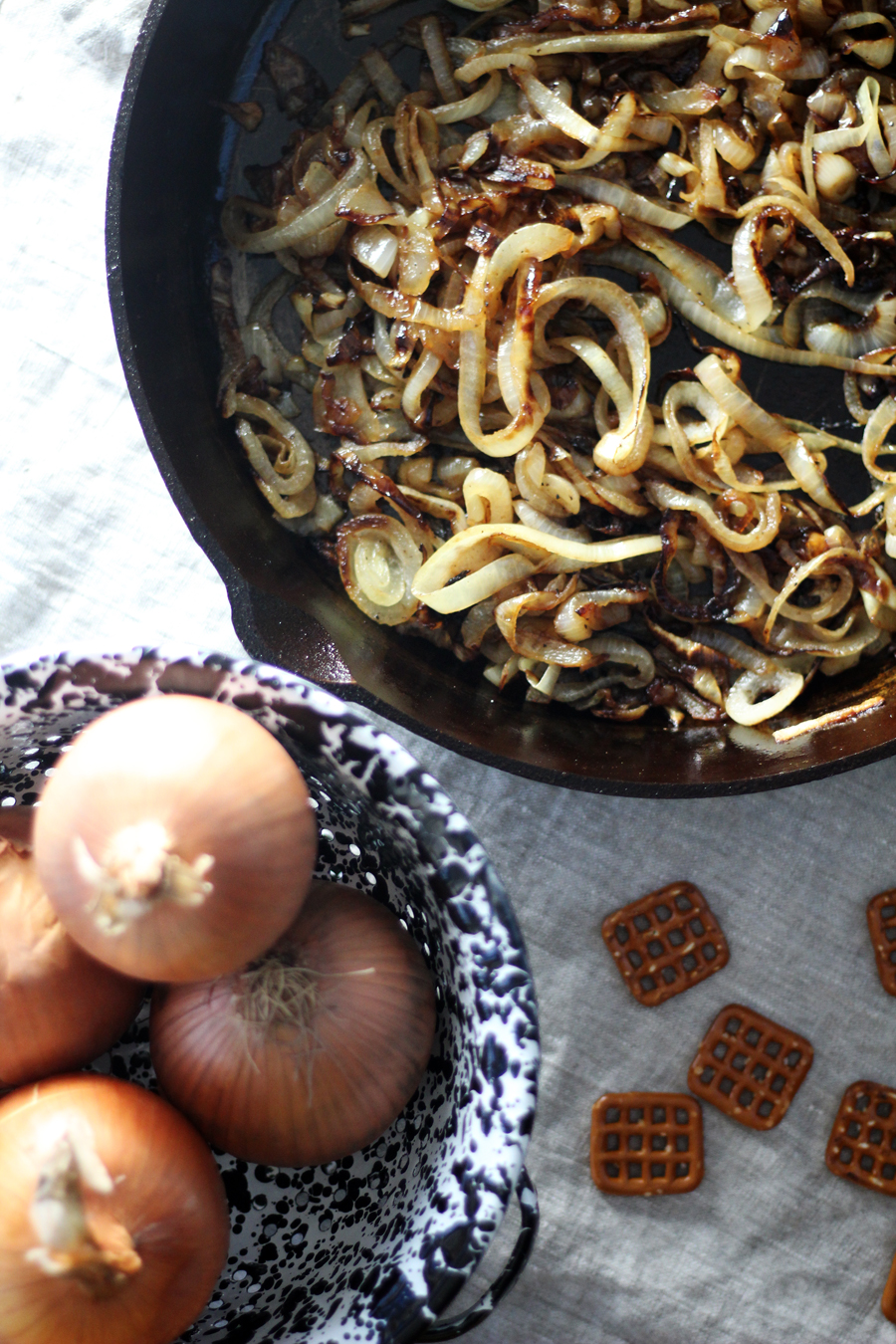 A skillet of caramelized onions