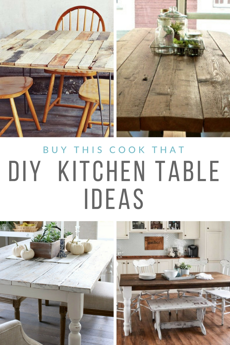 Confession: I have never purchased a new kitchen table. I've always had hand me downs. Now I'm ready to make our own. Here are my fave DIY Kitchen Table Ideas. #DIYKitchenTable #KitchenTable #farmhousetable