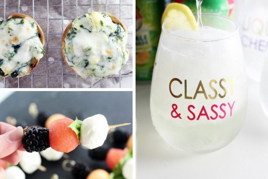 Party recipes and a glass of gingerale in a clear glass with a lemon